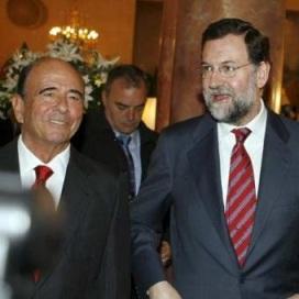 Emilio Botín, presidente del Santander, y Mariano Rajoy.